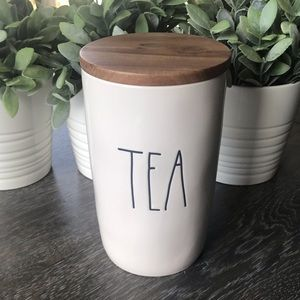 NWT Rae Dunn TEA cellar canister wooden tight lid